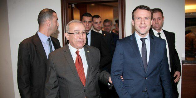ALGIERS, ALGERIA - JANUARY 24: French presidential candidate, Emmanuel Macron (front R) meets with Algerian...