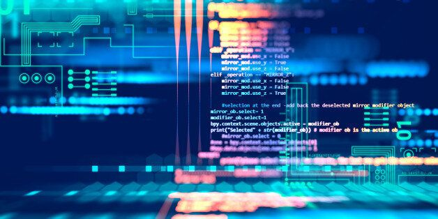 Programming code abstract technology background of software developer and Computer
