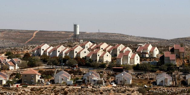 A general view shows houses in Shvut Rachel, a West Bank Jewish settlement located close to the Jewish...