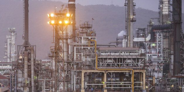 A Bharat Petroleum Corp. refinery stands in the Mahul area of Mumbai, India, on Friday, April 7, 2017....