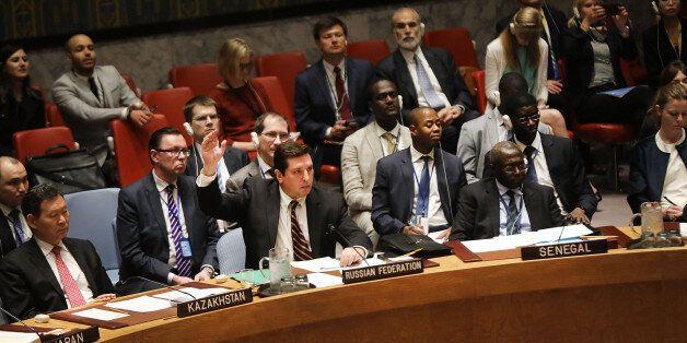 NEW YORK, NY - APRIL 12: Russian deputy United Nations (UN) ambassador Vladimir Safronkov is the sole...
