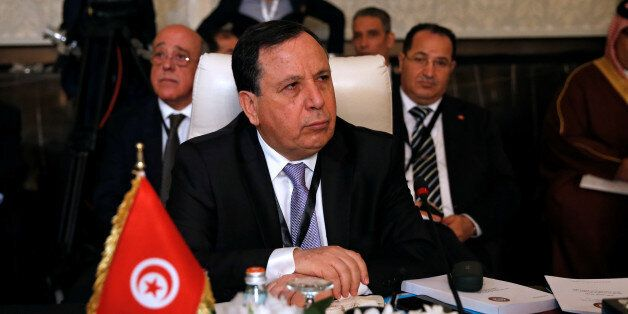 Tunisian Foreign Minister Khemaies Jhinaoui attends the preparatory meeting of Arab Foreign ministers...
