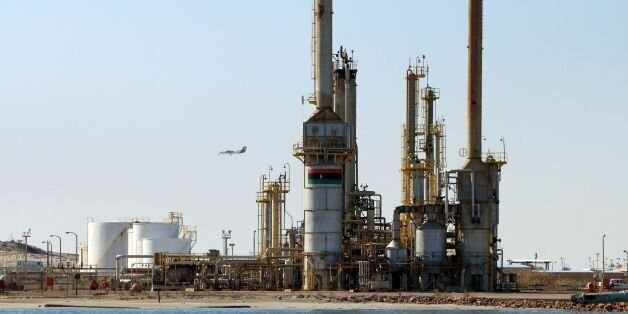 A general view shows an oil facility in the northern oil rich Libyan town of al-Buraqah on January 12,...