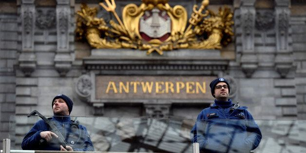 Belgian police officers patrol in the central station, in Antwerp, Belgium March 3, 2017. REUTERS/Eric