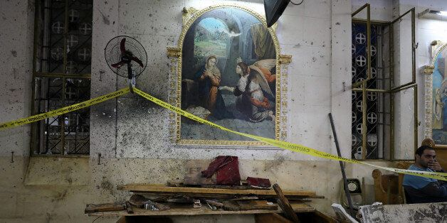 The aftermath of an explosion that took place at a Coptic church on Sunday in Tanta, Egypt, April 9,...