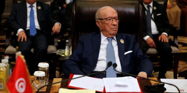 Tunisia's President Beji Caid Essebsi attends the 28th Ordinary Summit of the Arab League at the Dead...