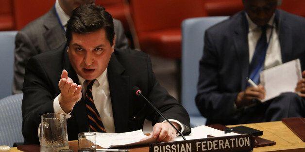 NEW YORK, NY - APRIL 12: Russian deputy United Nations (UN) ambassador Vladimir Safronkov speaks at a...