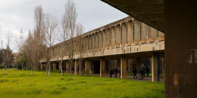 ALGIERS, ALGERIA - JANUARY 25: Students walk across campus of University of Sciences and Technology Houari...