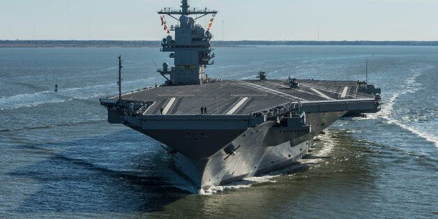 NEWPORT NEWS, VA - APRIL 8: In this handout photo provided by the U.S. Navy, the future USS Gerald R....