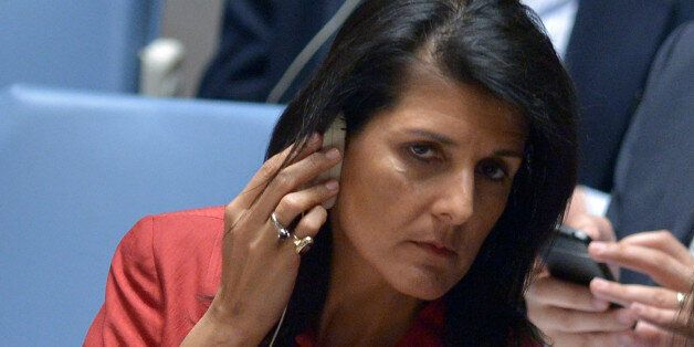 US Ambassador to the UN and UN security council president, Nikki Haley listens during an United Nations...