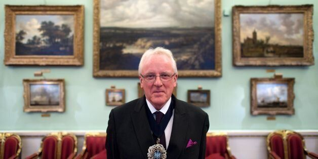 The Lord Mayor of London, Andrew Parmley, poses for a portrait after an interview with AFP at his official...