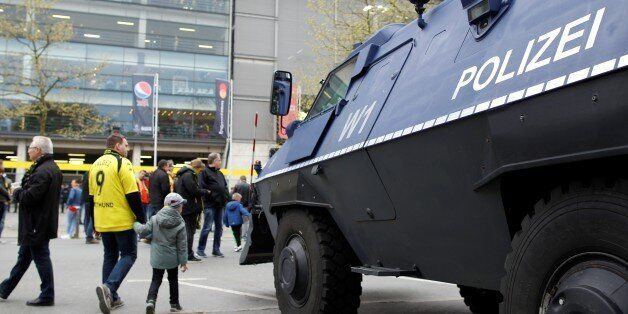 DORTMUND, GERMANY - APRIL 12: A riot control vehicle is seen ahead of the UEFA Champions League Quarter-Final...