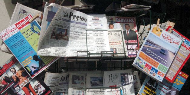 Tunisian daily newspapers and magazines are displayed at a shop on May 03, 2008 in Tunis, the international...