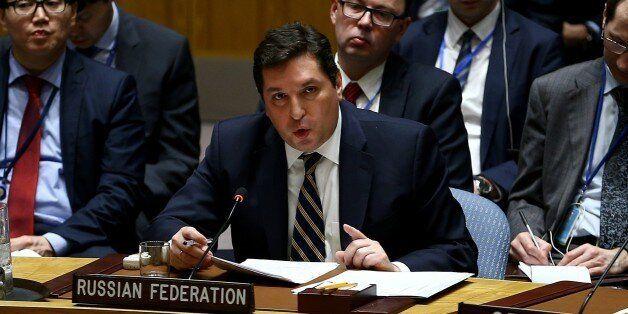 NEW YORK, UNITED STATES - APRIL 5: ussia's Deputy Permanent Representative to the UN Vladimir Safronkov...