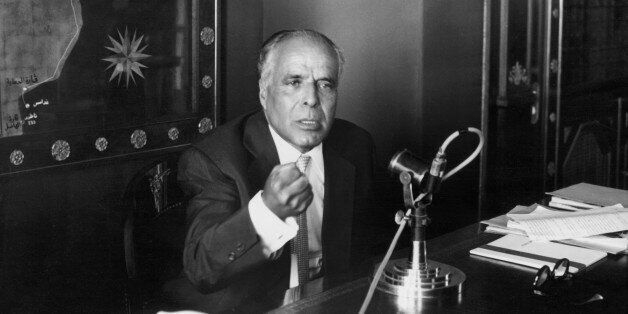 Tunisian President Habib Bourguiba speaking to the nation during a radio-address in 1957 from his Carthago...