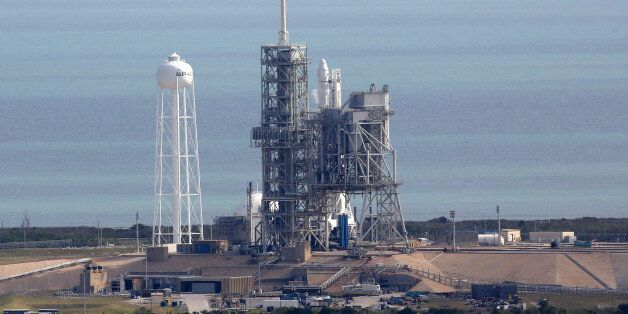 A SpaceX rocket sits on launch pad39A on Saturday, Feb. 18, 2017, after it was scrubbed 13 seconds before...