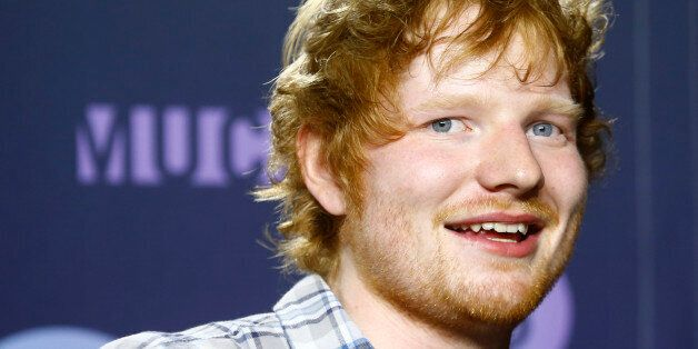 British singer Ed Sheeran poses backstage at the MuchMusic Video Awards (MMVAs) in Toronto, June 21,...