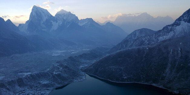 A general view is seen of the Khumbu Valley in the Everest region of Nepal in this picture taken April...