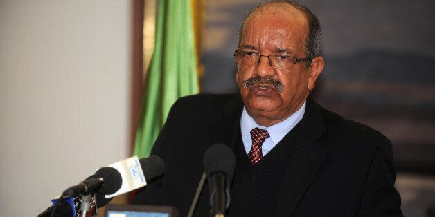 Minister Delegate in charge of Maghreb and African Affairs Abdelkader Messahel speaks during a press...