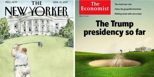 Ces magazines transforment Trump en golfeur pour résumer ses premiers mois au