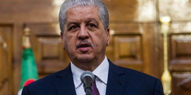 TUNIS, TUNISIA - MARCH 9: Algerian Prime Minister Abdelmalek Sellal and Tunisian Prime Minister Youssef...