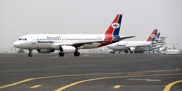 Planes belonging to the Yemen Airways, 'Yemeniya', are seen parked on the tarmac of the Sanaa International...
