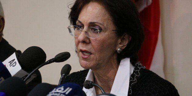 BEIRUT, LEBANON - MARCH 17: UN Under-Secretary General and ESCWA Executive Secretary Rima Khalaf delivers...