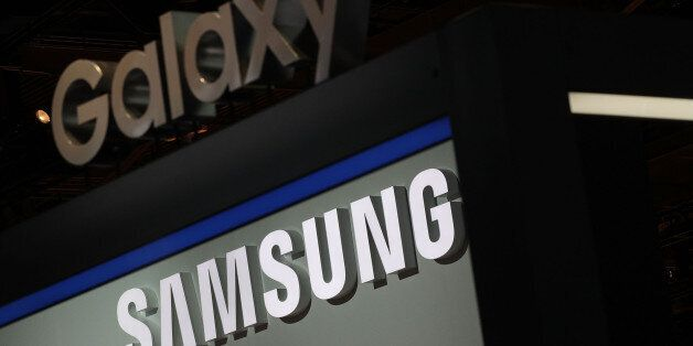 LAS VEGAS, NV - JANUARY 05: A Samsung and a Galaxy signs are seen at the Samsung booth during CES 2017...