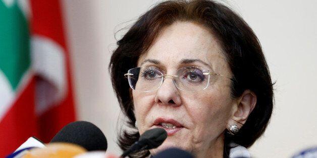 U.N. Under-Secretary General and ESCWA Executive Secretary Rima Khalaf speaks during a news conference...
