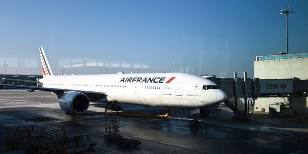 An Air France plane is parked at Roissy-Charles-de-Gaulle airport, north of Paris, on January 20, 2017....