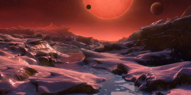 Vue d'artiste d'une des exoplanètes autour de l'étoile Trappist