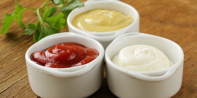 mustard, ketchup and mayonnaise - three kinds of