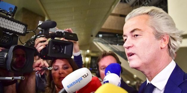 PVV leader Geert Wilders speaks to the press on election night in The Hague, on March 15, 2017. The Liberal...