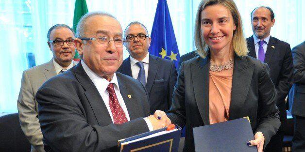 BRUSSELS, BELGIUM - JUNE 04: Algerian Foreign Minister Ramtane Lamamra (L) and High Representative of...