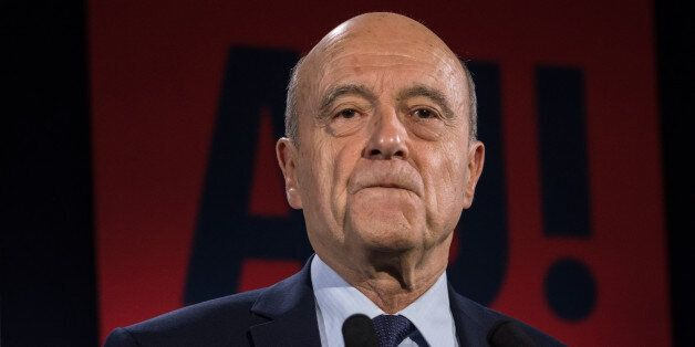Former candidate and Mayor of Bordeaux, Alain Juppé speaks after loss in the primary campaign against...