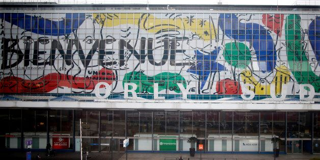 A general view shows the Orly airport southern terminal with his facade decorated by artist Jean-Charles...
