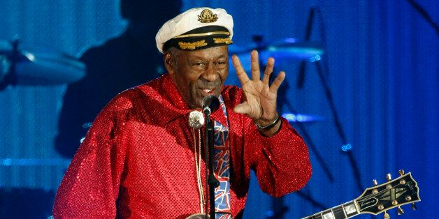 Rock and roll legend Chuck Berry performs during the Bal de la Rose in Monte Carlo March 28, 2009. The...