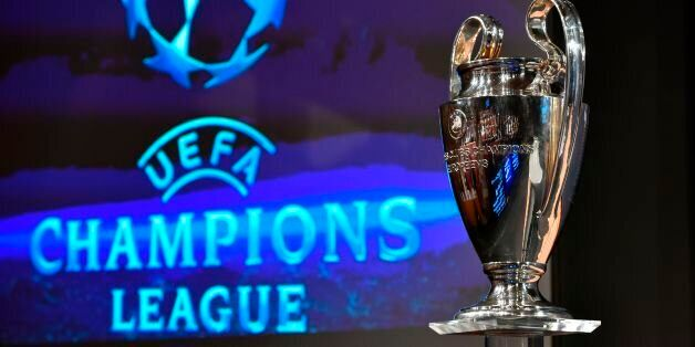 The UEFA Champions League cup is pictured prior to the ceremony for the quarter-final draw of the quarter-final...