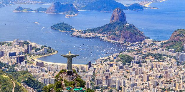 Aerial view of the Christ, The Redeemer Monument and the Corcovado Mountain in Rio de Janeiro, Brazil....