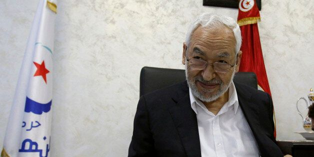Rached Ghannouchi, leader of the Islamist Ennahda movement, speaks during an intervew with a Reuters...