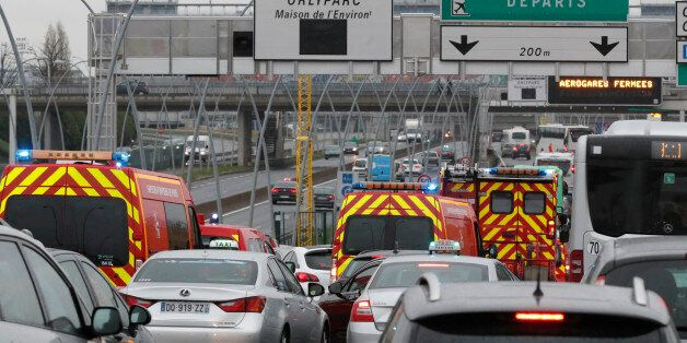 Emergency vehicles arrive Orly airport southern terminal in Paris, France March 18, 2017. REUTERS/Christian