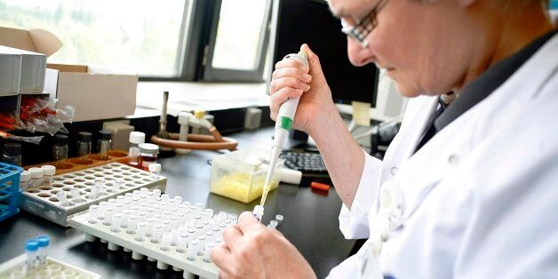 A researcher works at the microbiology lab of the Universitair Ziekenhuis Antwerpen, a hospital in Antwerp...