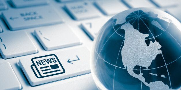 Crystal Globe and News text icon enter key on