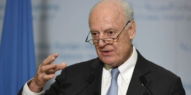 UN Special Envoy of the Secretary-General for Syria Staffan de Mistura gives a press conference during...
