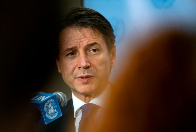 Italian Premier Giuseppe Conte speaks with members of the news media during the 73rd session of the United...