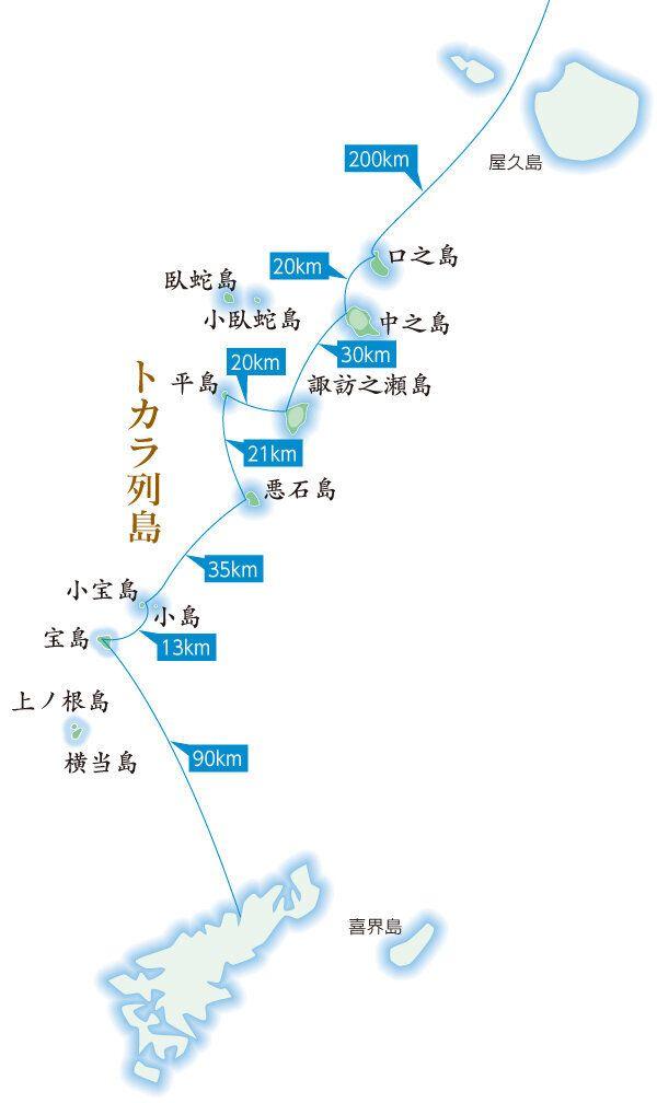 屋久島と奄美大島の間にあるトカラ列島の地図。臥蛇島は屋久島寄りにあることが分かる。