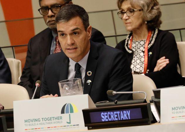 Pedro Sánchez, hablando en un encuentro de Alto Nivel sobre la salud del planeta, en Nueva