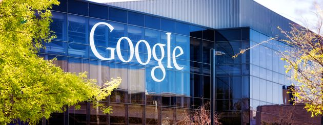 Mountain View, USA - March 4, 2015: Google headquarters logo on Mountain view California glass office...
