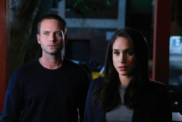"""SUITS -- """"P.S.L."""" Episode 610 -- Pictured: (l-r) Patrick J. Adams as Michael Ross, Meghan Markle as Rachel Zane -- (Photo by: Shane Mahood/USA Network/NBCU Photo Bank via Getty Images)"""