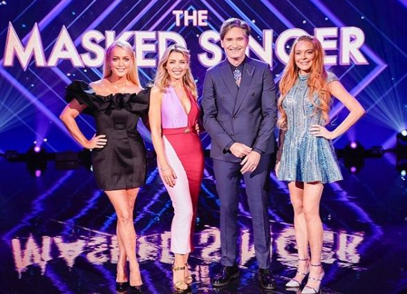 Jackie O, Dannii Minogue, Dave Hughes and Lindsay Lohan on Australia's The Masked Singer.